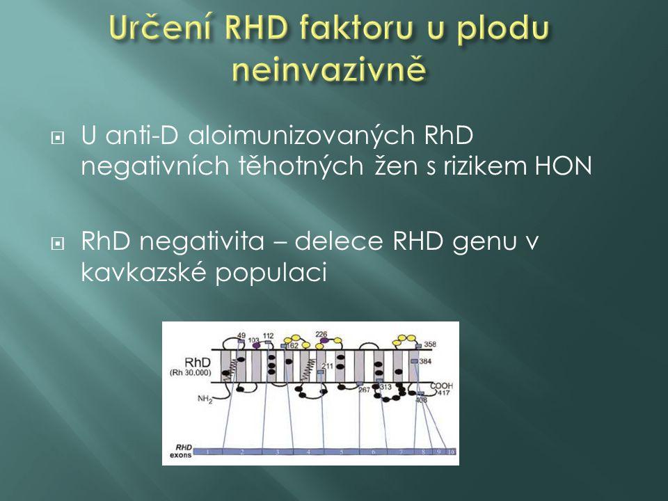  U anti-D aloimunizovaných RhD negativních těhotných žen s rizikem HON  RhD negativita – delece RHD genu v kavkazské populaci