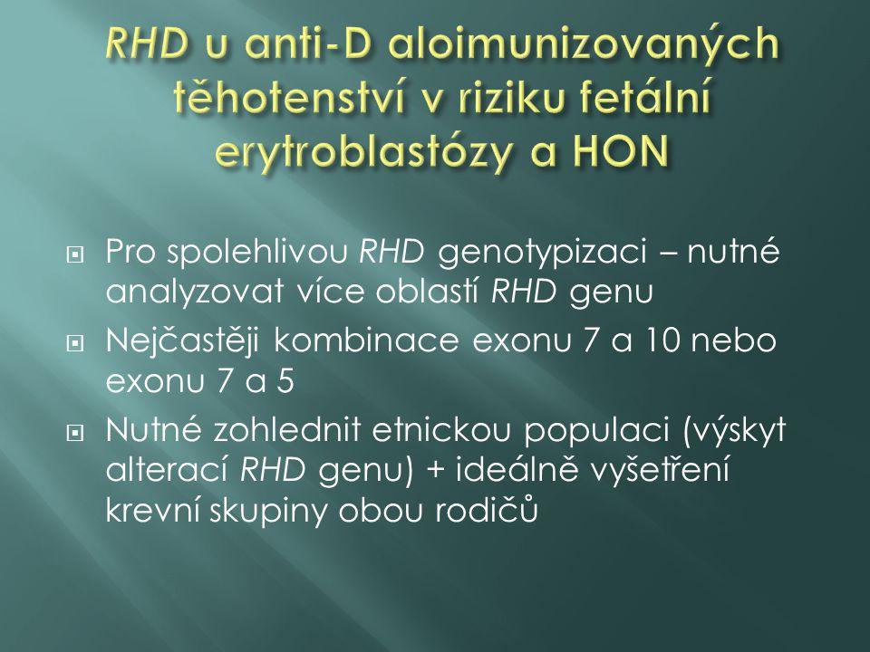  Pro spolehlivou RHD genotypizaci – nutné analyzovat více oblastí RHD genu  Nejčastěji kombinace exonu 7 a 10 nebo exonu 7 a 5  Nutné zohlednit etn