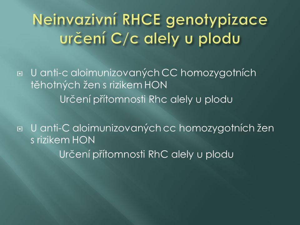  U anti-c aloimunizovaných CC homozygotních těhotných žen s rizikem HON Určení přítomnosti Rhc alely u plodu  U anti-C aloimunizovaných cc homozygot