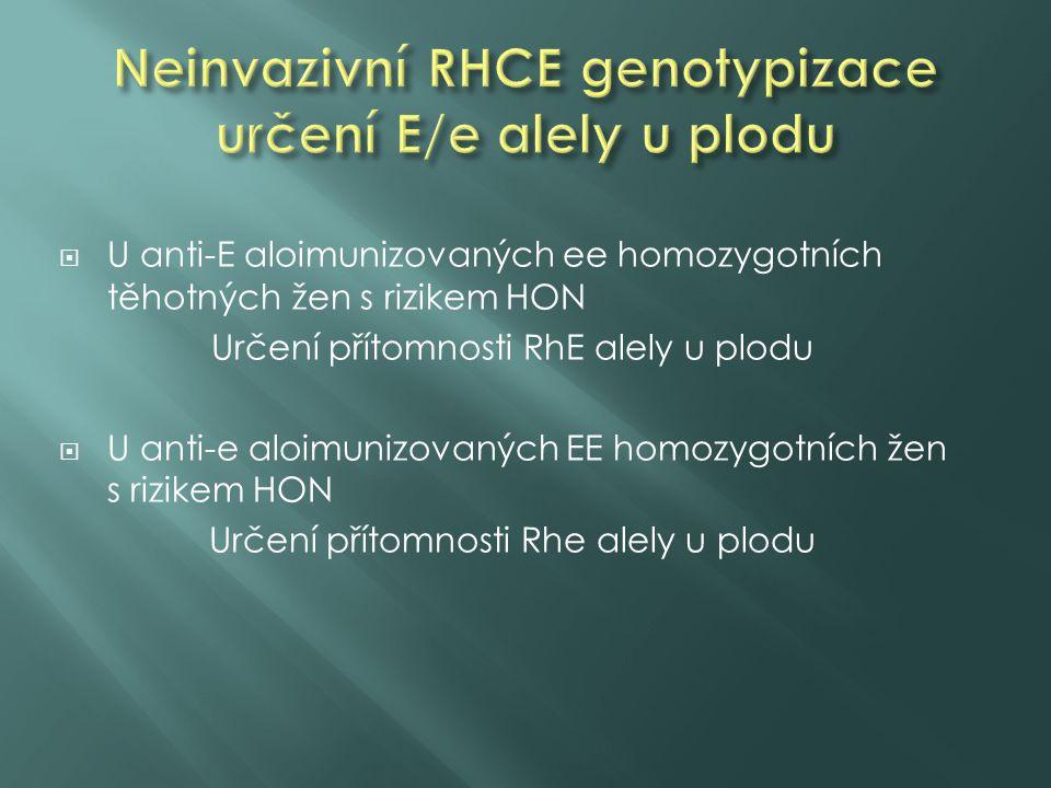  U anti-E aloimunizovaných ee homozygotních těhotných žen s rizikem HON Určení přítomnosti RhE alely u plodu  U anti-e aloimunizovaných EE homozygot
