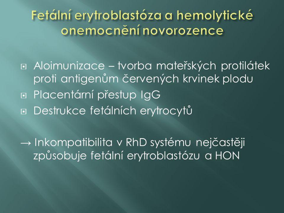  Aloimunizace – tvorba mateřských protilátek proti antigenům červených krvinek plodu  Placentární přestup IgG  Destrukce fetálních erytrocytů → Ink