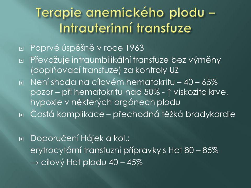  Poprvé úspěšně v roce 1963  Převažuje intrau m bilikální transfuze bez výměny (doplňovací transfuze) za kontroly UZ  Není shoda na cílovém hematok