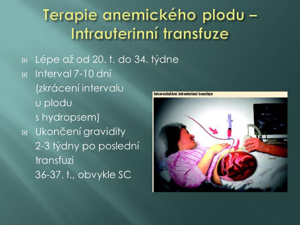  Lépe až od 20. t. do 34. týdne  Interval 7-10 dní (zkrácení intervalu u plodu s hydropsem)  Ukončení gravidity 2-3 týdny po poslední transfuzi 36-
