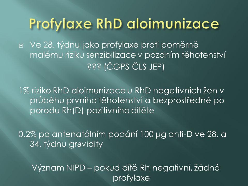  Ve 28. týdnu jako profylaxe proti poměrně malému riziku senzibilizace v pozdním těhotenství ??? (ČGPS ČLS JEP) 1% riziko RhD aloimunizace u RhD nega