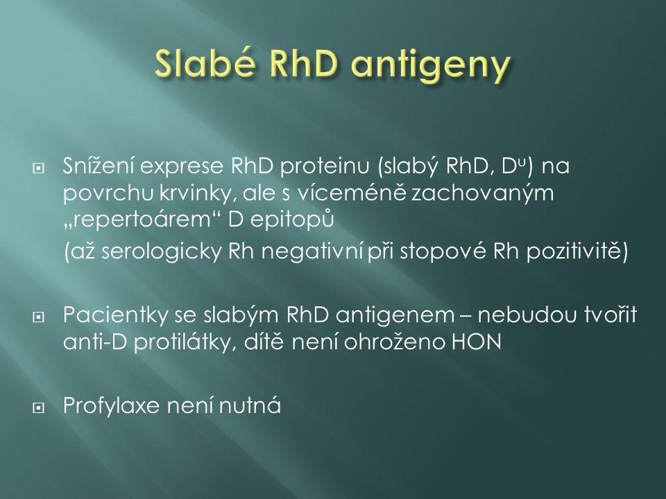 """ Snížení exprese RhD proteinu (slabý RhD, D u ) na povrchu krvinky, ale s víceméně zachovaným """"repertoárem"""" D epitopů (až serologicky Rh negativní př"""