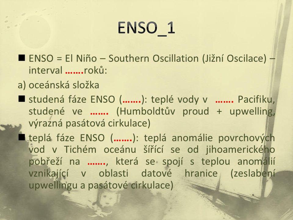 ENSO = El Niño – Southern Oscillation (Jižní Oscilace) – interval …….roků: a) oceánská složka studená fáze ENSO (…….): teplé vody v ……. Pacifiku, stud