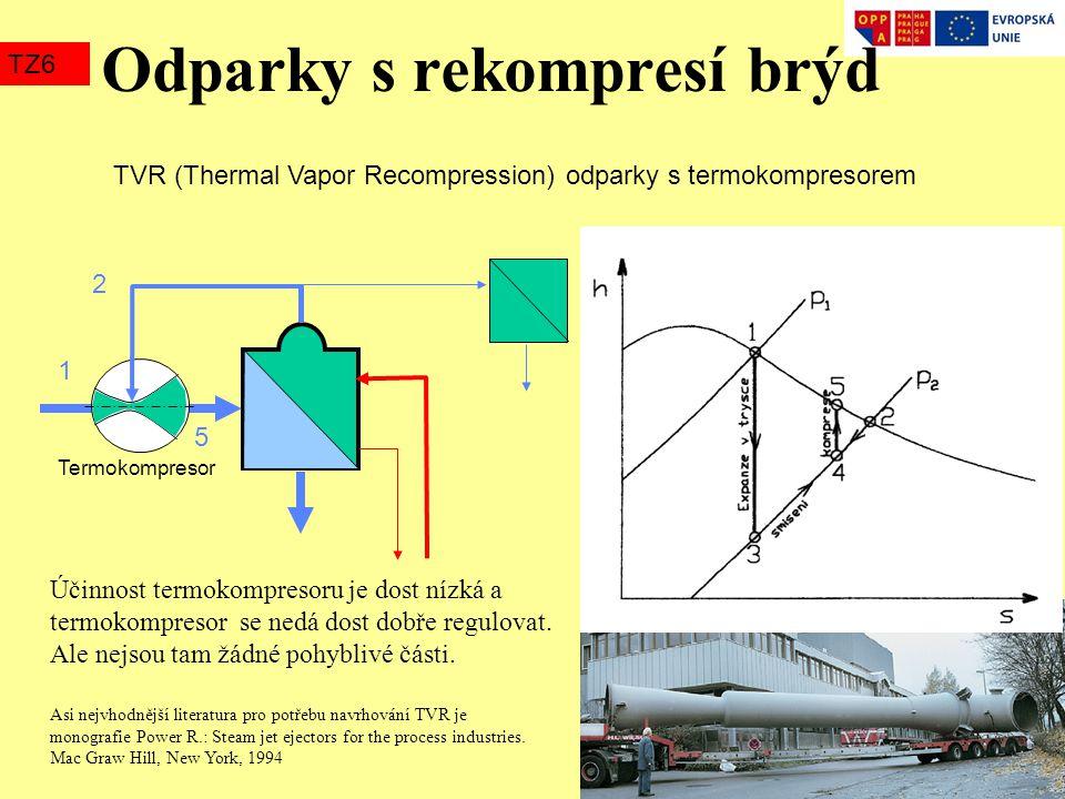 Odparky s rekompresí brýd TZ6 TVR (Thermal Vapor Recompression) odparky s termokompresorem 1 5 2 Termokompresor Asi nejvhodnější literatura pro potřeb