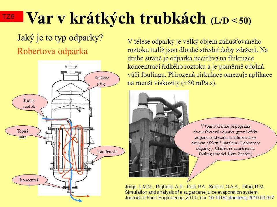 Var v krátkých trubkách (L/D < 50) TZ6 Srážeče pěny Řídký roztok Topná pára kondenzát koncentrá t Jaký je to typ odparky? V tělese odparky je velký ob