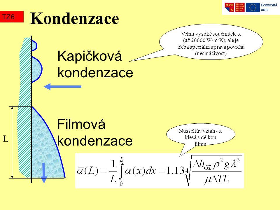 Kondenzace TZ6 Kapičková kondenzace Filmová kondenzace Velmi vysoké součinitele  (až 20000 W/m 2 K), ale je třeba speciální úprava povrchu (nesmáčivo
