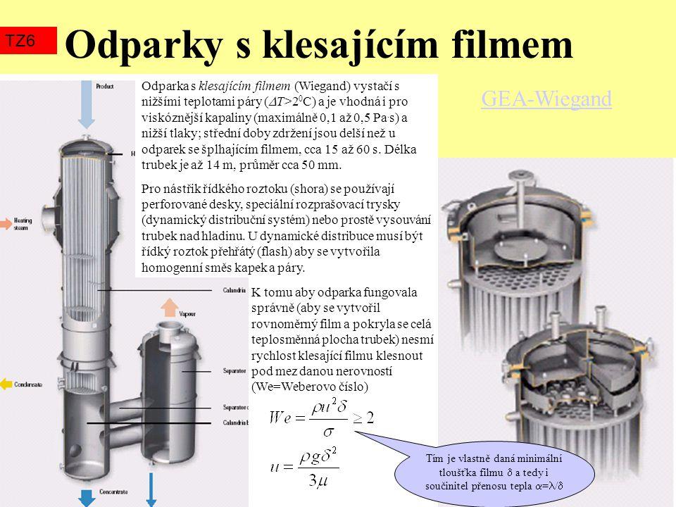 Odparky s klesajícím filmem TZ6 GEA-Wiegand Odparka s klesajícím filmem (Wiegand) vystačí s nižšími teplotami páry (  T>2 0 C) a je vhodná i pro visk