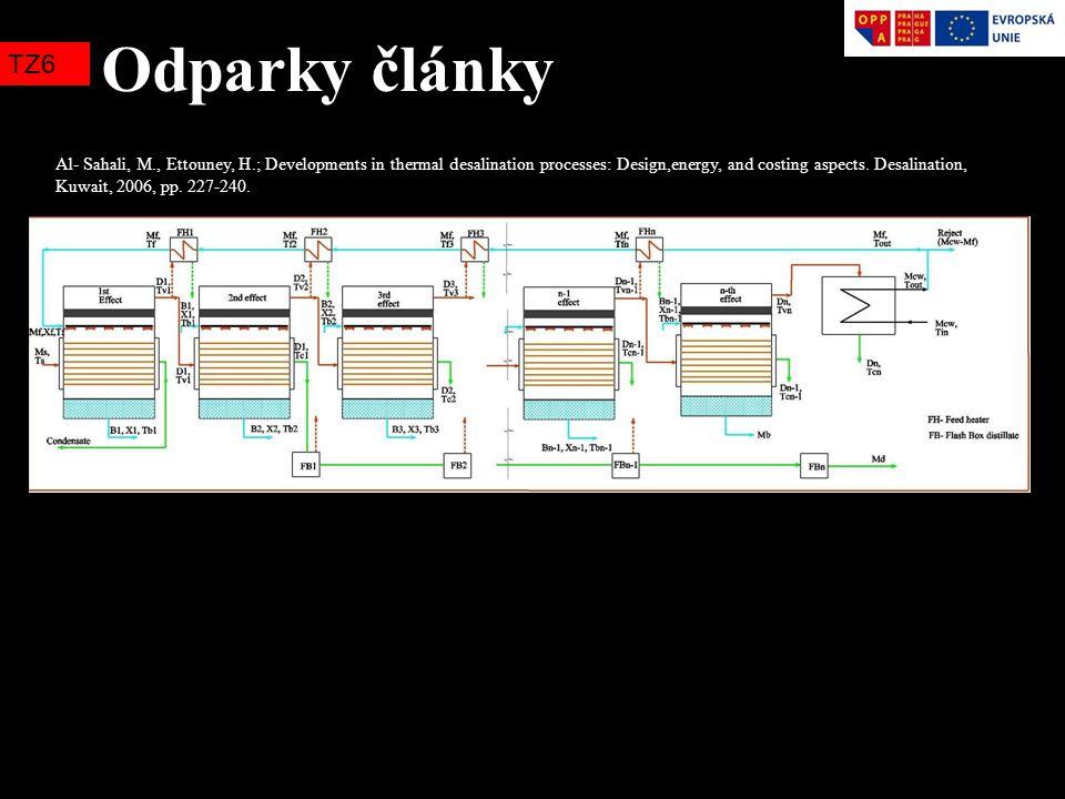 Odparky články TZ6 Al- Sahali, M., Ettouney, H.; Developments in thermal desalination processes: Design,energy, and costing aspects. Desalination, Kuw