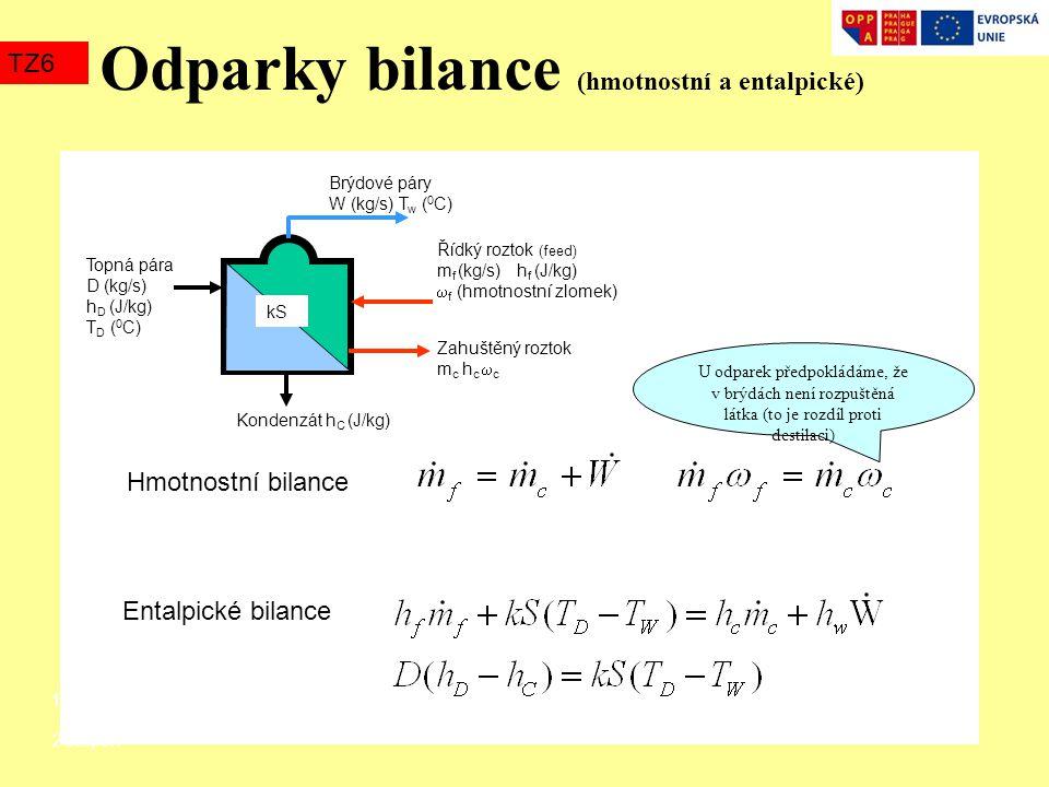 Odparky bilance (hmotnostní a entalpické) TZ6 Řídký roztok (feed) m f (kg/s) h f (J/kg)  f (hmotnostní zlomek) Zahuštěný roztok m c h c  c Kondenzát
