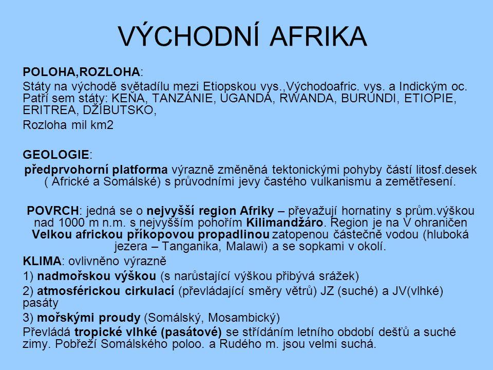 VÝCHODNÍ AFRIKA POLOHA,ROZLOHA: Státy na východě světadílu mezi Etiopskou vys.,Východoafric. vys. a Indickým oc. Patří sem státy: KEŇA, TANZÁNIE, UGAN