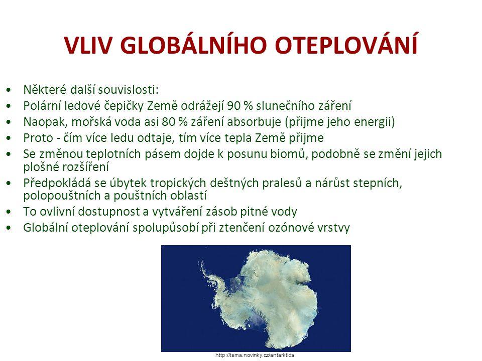 VLIV GLOBÁLNÍHO OTEPLOVÁNÍ Stále ale platí, že v plné míře nejsme příčiny a důsledky vzniku globálního oteplování schopni vyhodnotit To je příčinou neshod při posuzování antropogenních a přirozených vlivů Problematikou je potřebné se zabývat vážně, zároveň ale střízlivě http://vtm.e15.cz/clanek/taje-antarktida-kvuli-sopkam
