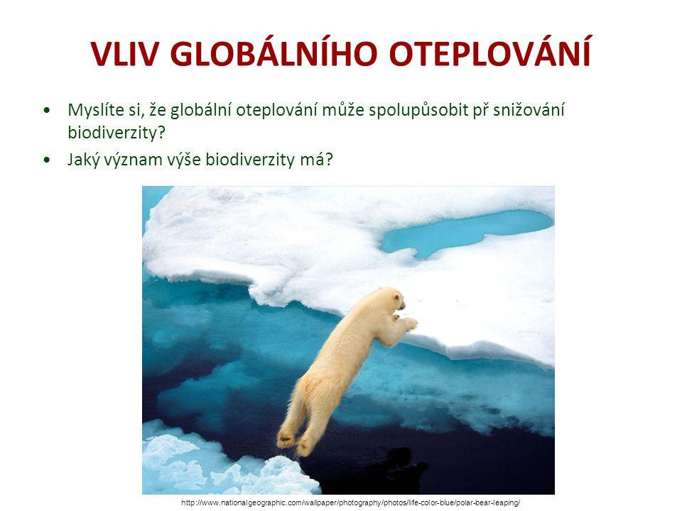 VLIV GLOBÁLNÍHO OTEPLOVÁNÍ Myslíte si, že globální oteplování může spolupůsobit př snižování biodiverzity? Jaký význam výše biodiverzity má? http://ww