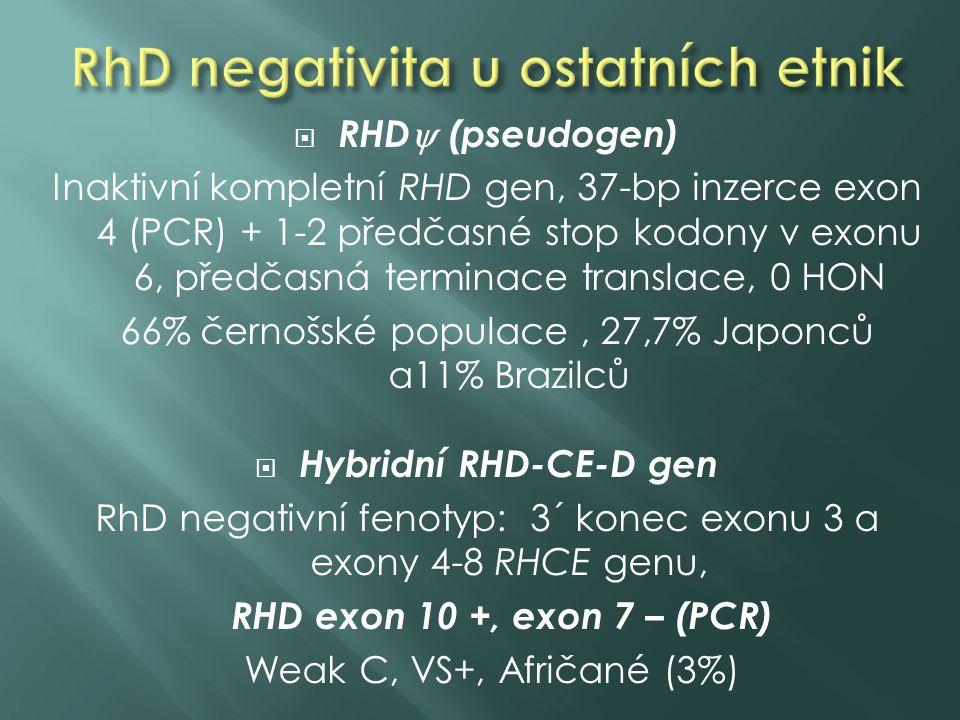  RHD  (pseudogen) Inaktivní kompletní RHD gen, 37-bp inzerce exon 4 (PCR) + 1-2 předčasné stop kodony v exonu 6, předčasná terminace translace, 0 HON 66% černošské populace, 27,7% Japonců a11% Brazilců  Hybridní RHD-CE-D gen RhD negativní fenotyp: 3´ konec exonu 3 a exony 4-8 RHCE genu, RHD exon 10 +, exon 7 – (PCR) Weak C, VS+, Afričané (3%)