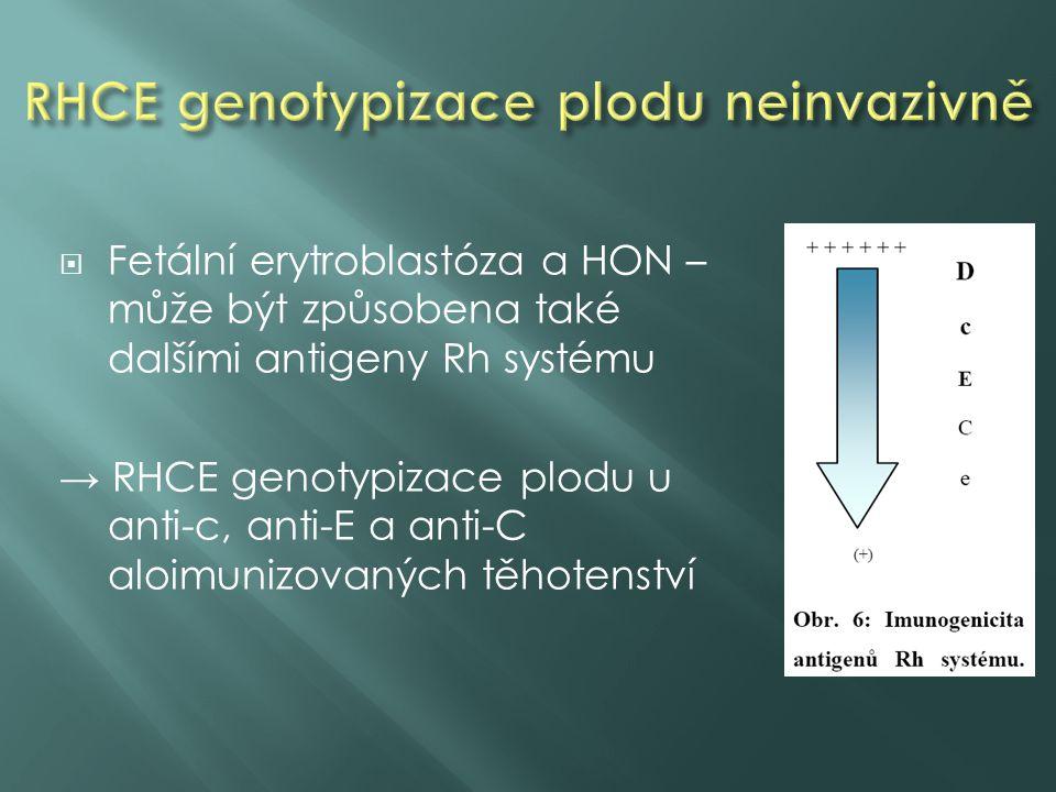  Fetální erytroblastóza a HON – může být způsobena také dalšími antigeny Rh systému → RHCE genotypizace plodu u anti-c, anti-E a anti-C aloimunizovaných těhotenství