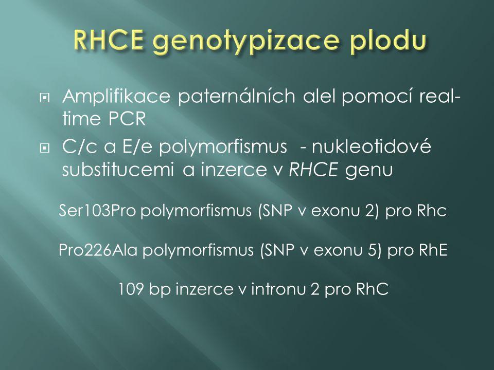 Amplifikace paternálních alel pomocí real- time PCR  C/c a E/e polymorfismus - nukleotidové substitucemi a inzerce v RHCE genu Ser103Pro polymorfismus (SNP v exonu 2) pro Rhc Pro226Ala polymorfismus (SNP v exonu 5) pro RhE 109 bp inzerce v intronu 2 pro RhC