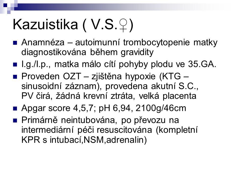 Kazuistika ( V.S.♀) Anamnéza – autoimunní trombocytopenie matky diagnostikována během gravidity I.g./I.p., matka málo cítí pohyby plodu ve 35.GA.