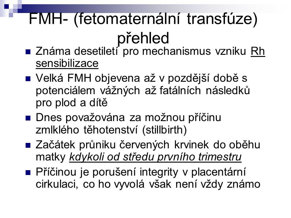 FMH- (fetomaternální transfúze) přehled Známa desetiletí pro mechanismus vzniku Rh sensibilizace Velká FMH objevena až v pozdější době s potenciálem vážných až fatálních následků pro plod a dítě Dnes považována za možnou příčinu zmlklého těhotenství (stillbirth) Začátek průniku červených krvinek do oběhu matky kdykoli od středu prvního trimestru Příčinou je porušení integrity v placentární cirkulaci, co ho vyvolá však není vždy známo