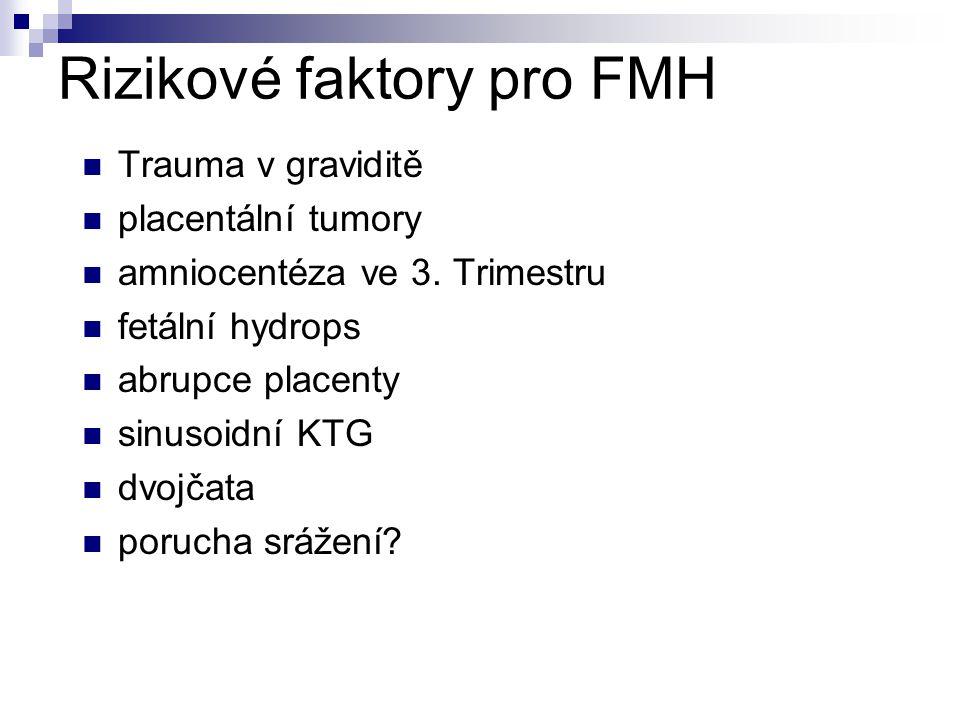 Rizikové faktory pro FMH Trauma v graviditě placentální tumory amniocentéza ve 3.