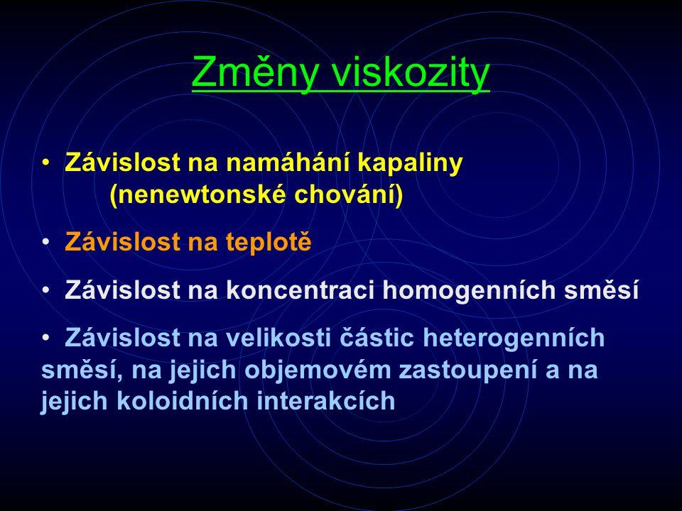 Změny viskozity Závislost na namáhání kapaliny (nenewtonské chování) Závislost na teplotě Závislost na koncentraci homogenních směsí Závislost na veli