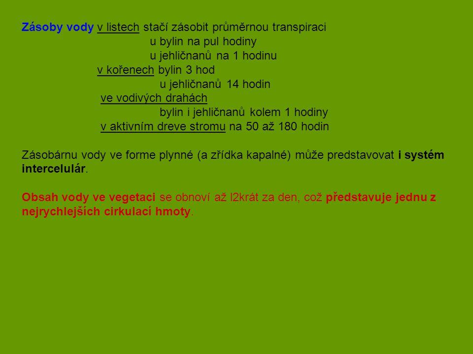 Zásoby vody v listech stačí zásobit průměrnou transpiraci u bylin na pul hodiny u jehličnanů na 1 hodinu v kořenech bylin 3 hod u jehličnanů 14 hodin