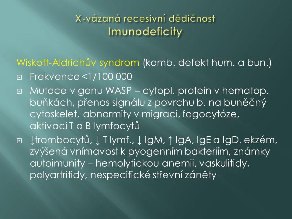 Wiskott-Aldrichův syndrom (komb. defekt hum. a bun.)  Frekvence <1/100 000  Mutace v genu WASP – cytopl. protein v hematop. buňkách, přenos signálu