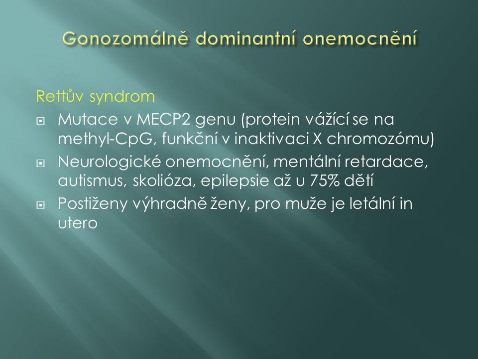 Rettův syndrom  Mutace v MECP2 genu (protein vážící se na methyl-CpG, funkční v inaktivaci X chromozómu)  Neurologické onemocnění, mentální retardace, autismus, skolióza, epilepsie až u 75% dětí  Postiženy výhradně ženy, pro muže je letální in utero