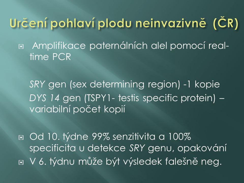  Amplifikace paternálních alel pomocí real- time PCR SRY gen (sex determining region) -1 kopie DYS 14 gen (TSPY1- testis specific protein) – variabilní počet kopií  Od 10.