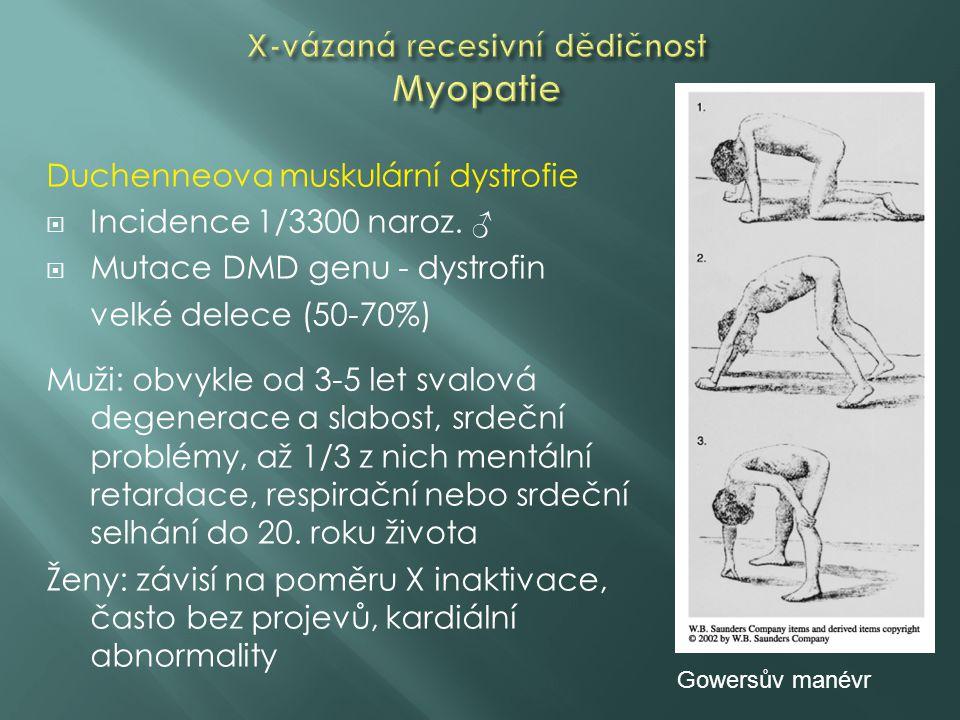 Duchenneova muskulární dystrofie  Incidence 1/3300 naroz. ♂  Mutace DMD genu - dystrofin velké delece (50-70%) Muži: obvykle od 3-5 let svalová dege