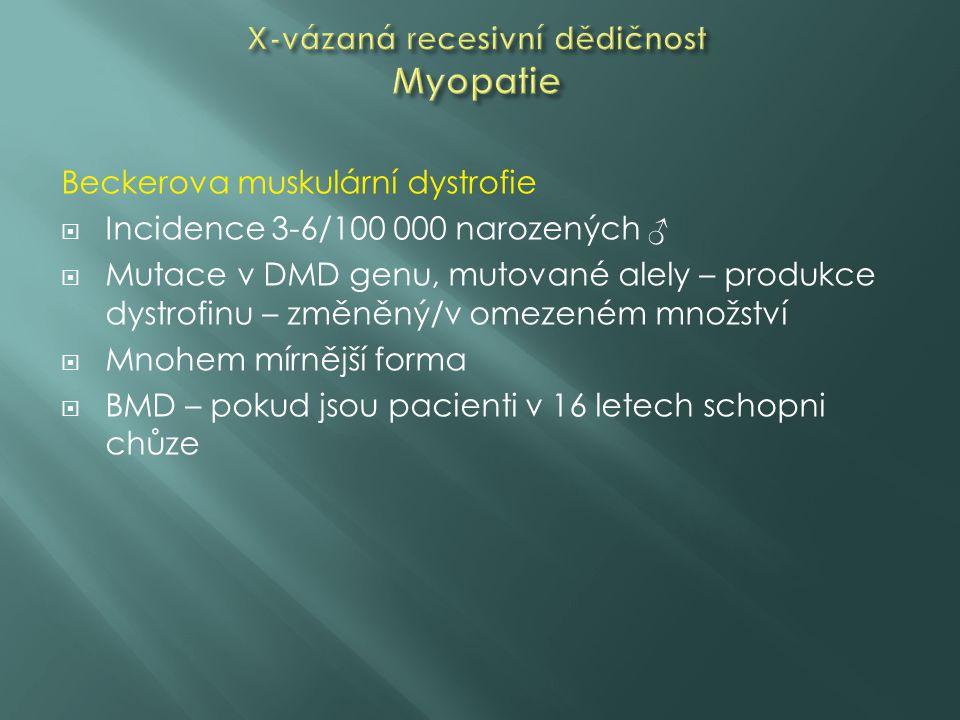 Beckerova muskulární dystrofie  Incidence 3-6/100 000 narozených ♂  Mutace v DMD genu, mutované alely – produkce dystrofinu – změněný/v omezeném mno