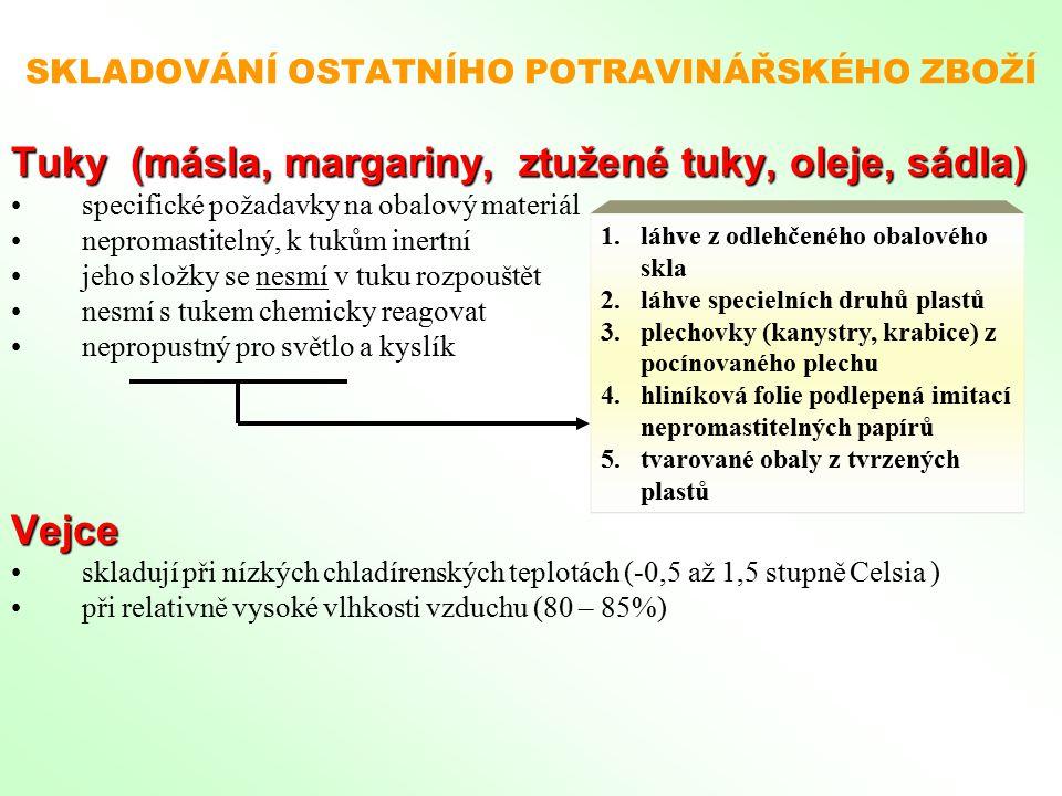 SKLADOVÁNÍ OSTATNÍHO POTRAVINÁŘSKÉHO ZBOŽÍ Tuky (másla, margariny, ztužené tuky, oleje, sádla) specifické požadavky na obalový materiál nepromastiteln
