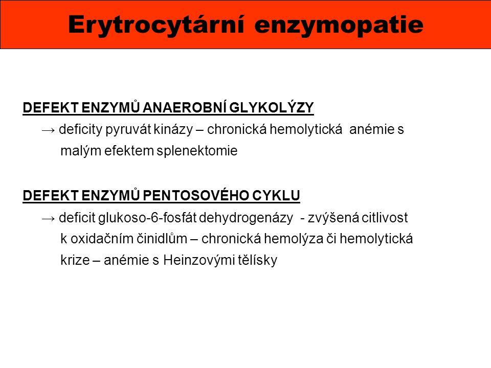 DEFEKT ENZYMŮ ANAEROBNÍ GLYKOLÝZY → deficity pyruvát kinázy – chronická hemolytická anémie s malým efektem splenektomie DEFEKT ENZYMŮ PENTOSOVÉHO CYKL