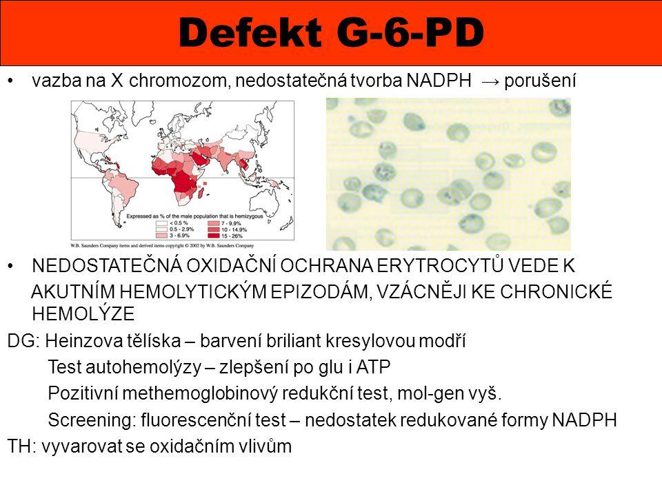 Defekt G-6-PD vazba na X chromozom, nedostatečná tvorba NADPH → porušení NEDOSTATEČNÁ OXIDAČNÍ OCHRANA ERYTROCYTŮ VEDE K AKUTNÍM HEMOLYTICKÝM EPIZODÁM
