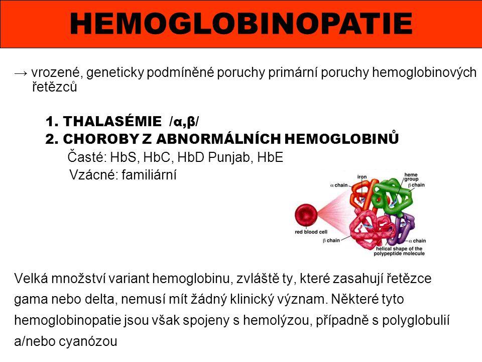 → vrozené, geneticky podmíněné poruchy primární poruchy hemoglobinových řetězců 1. THALASÉMIE /α,β/ 2. CHOROBY Z ABNORMÁLNÍCH HEMOGLOBINŮ Časté: HbS,