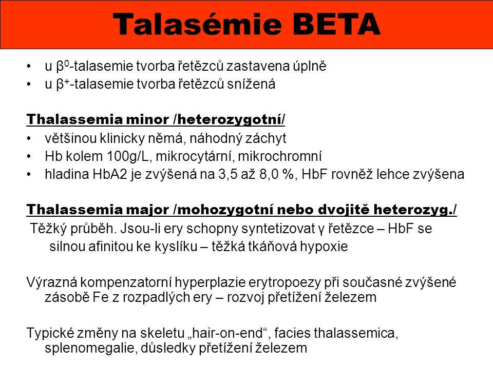 u β 0 -talasemie tvorba řetězců zastavena úplně u β + -talasemie tvorba řetězců snížená Thalassemia minor /heterozygotní/ většinou klinicky němá, náho