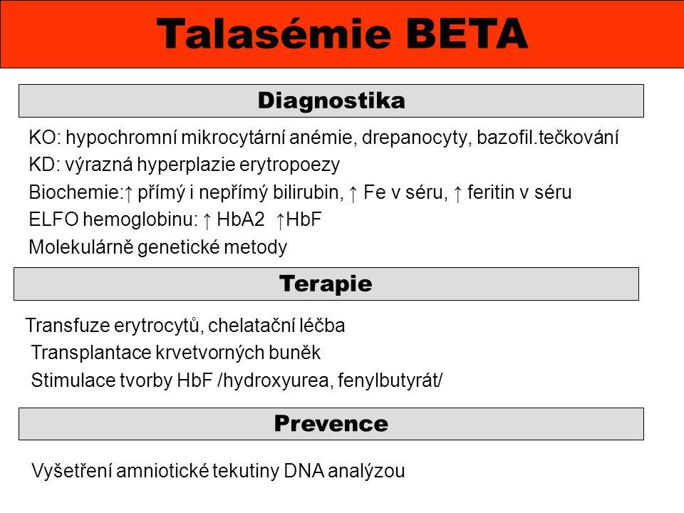 KO: hypochromní mikrocytární anémie, drepanocyty, bazofil.tečkování KD: výrazná hyperplazie erytropoezy Biochemie:↑ přímý i nepřímý bilirubin, ↑ Fe v