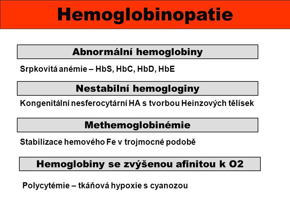 Polycytémie – tkáňová hypoxie s cyanozou Hemoglobinopatie Abnormální hemoglobiny Nestabilní hemogloginy Methemoglobinémie Hemoglobiny se zvýšenou afin