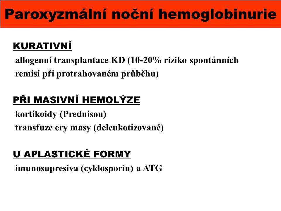 Paroxyzmální noční hemoglobinurie KURATIVNÍ allogenní transplantace KD (10-20% riziko spontánních remisí při protrahovaném průběhu) PŘI MASIVNÍ HEMOLÝ