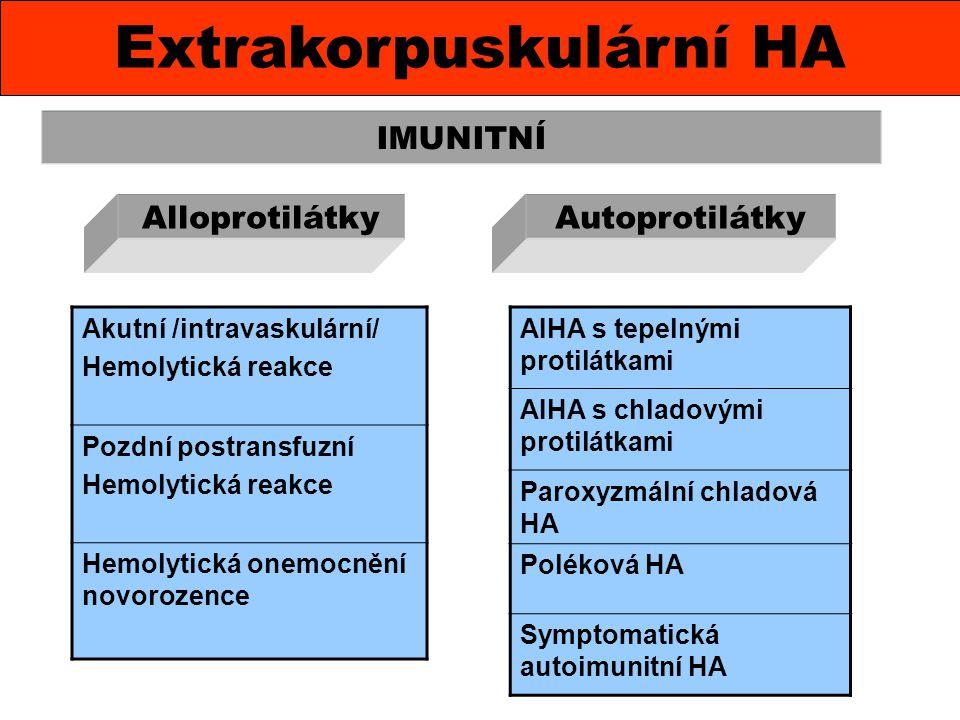 Extrakorpuskulární HA IMUNITNÍ Akutní /intravaskulární/ Hemolytická reakce Pozdní postransfuzní Hemolytická reakce Hemolytická onemocnění novorozence