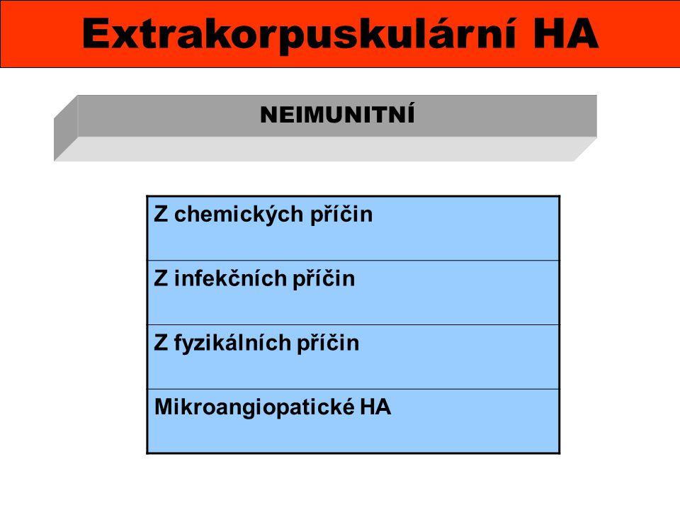 Extrakorpuskulární HA NEIMUNITNÍ Z chemických příčin Z infekčních příčin Z fyzikálních příčin Mikroangiopatické HA