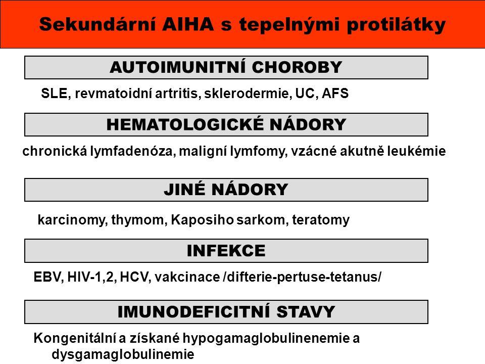 SLE, revmatoidní artritis, sklerodermie, UC, AFS Sekundární AIHA s tepelnými protilátky AUTOIMUNITNÍ CHOROBY HEMATOLOGICKÉ NÁDORY JINÉ NÁDORY INFEKCE