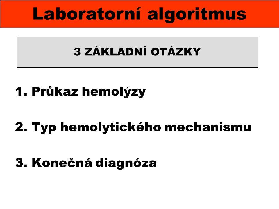 KO mikroskopicky RTC, retikulocytový index nekonjugovaný bilirubin urobilinogen a hemoglobin v moči hyperplastická erytropoéza, vysoký počet sideroblastů, polychromázie, bazofilní tečkování erytrocytů haptoglobin v séru hemopexin v séru (hemosiderin v moči) Průkaz hemolýzy