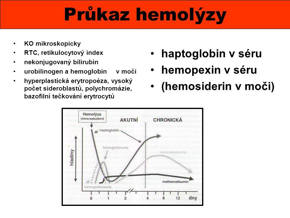 Anémie s retikulocytózou, schistocyty, akantocyty, sférocyty, trombocytopenie se známkami DIC, nález multimerů při elfo vWF při TTP, molekulárně genetické vyšetření u TTP.