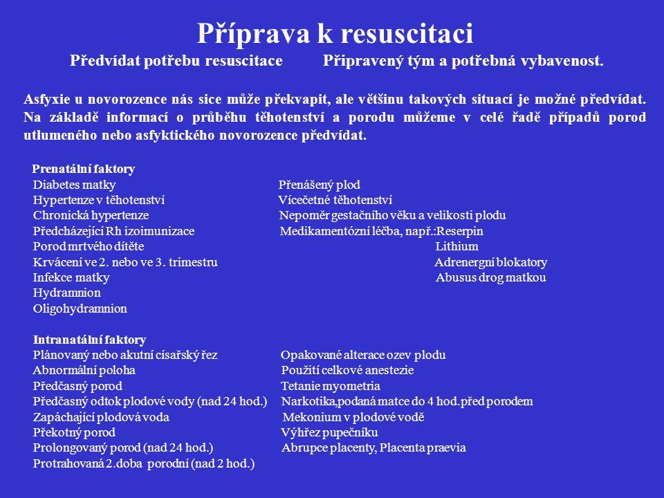 Příprava k resuscitaci Předvídat potřebu resuscitace Připravený tým a potřebná vybavenost. Asfyxie u novorozence nás sice může překvapit, ale většinu