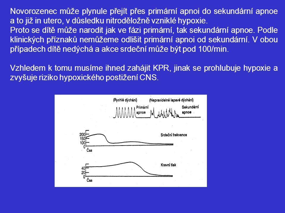 Novorozenec může plynule přejít přes primární apnoi do sekundární apnoe a to již in utero, v důsledku nitroděložně vzniklé hypoxie. Proto se dítě může