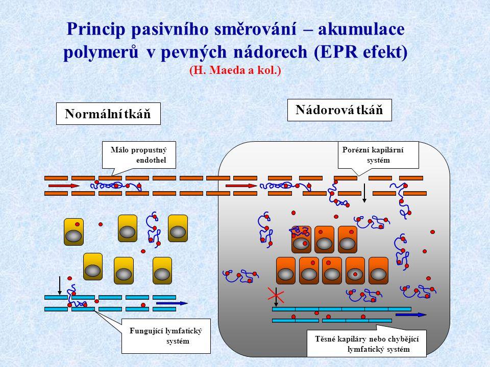 Princip pasivního směrování – akumulace polymerů v pevných nádorech (EPR efekt) (H. Maeda a kol.) Normální tkáň Nádorová tkáň Fungující lymfatický sys