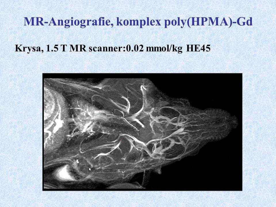 MR-Angiografie, komplex poly(HPMA)-Gd Krysa, 1.5 T MR scanner:0.02 mmol/kg HE45