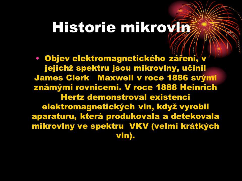 Historie mikrovln Objev elektromagnetického záření, v jejichž spektru jsou mikrovlny, učinil James Clerk Maxwell v roce 1886 svými známými rovnicemi.